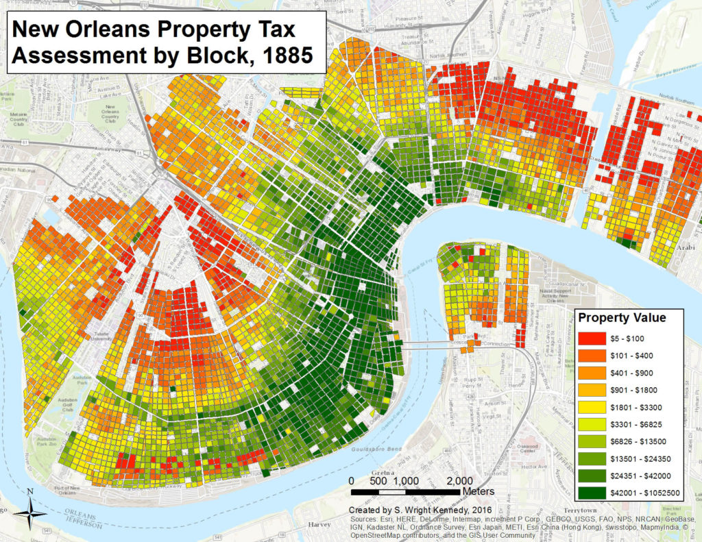 Property values by block from city and state tax ledgers in 1885.